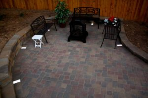 hardscape patio with metal firepit